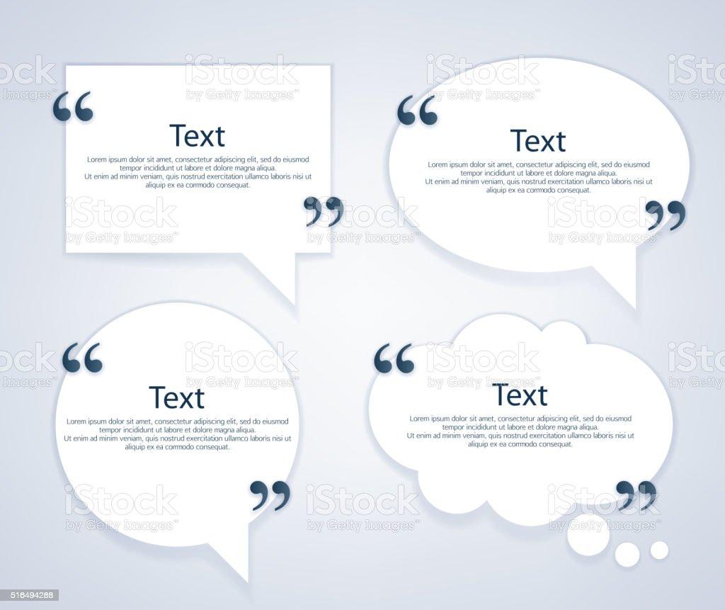 Quote bubble frames templates set vector art illustration