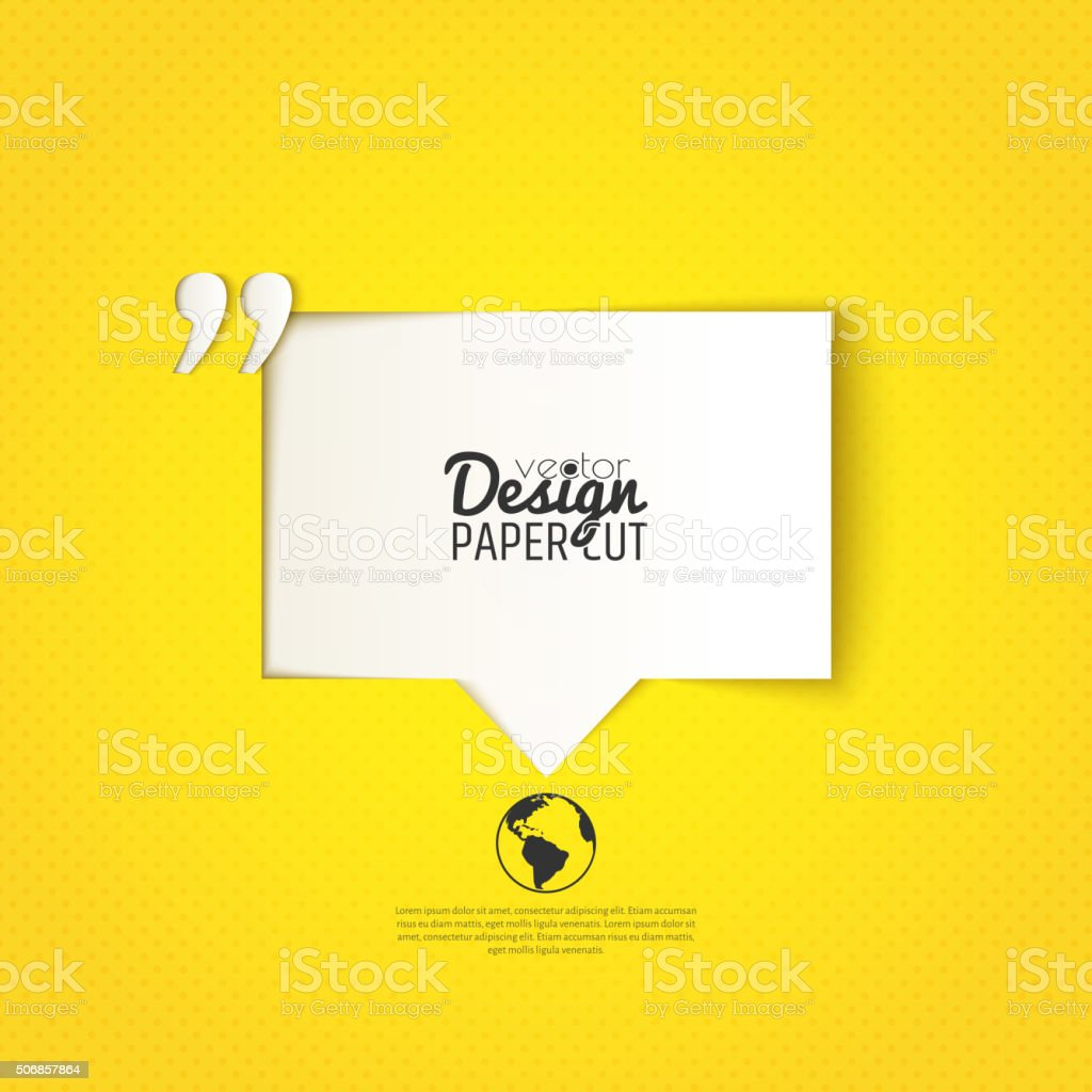Quote bubble with quotation mark on yellow background. Vector design vector art illustration