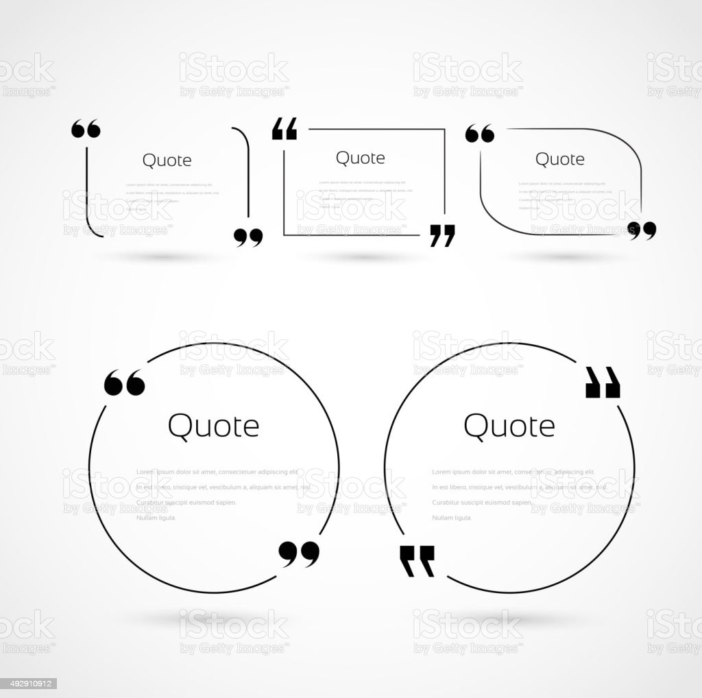 Quote bubbles template set vector art illustration