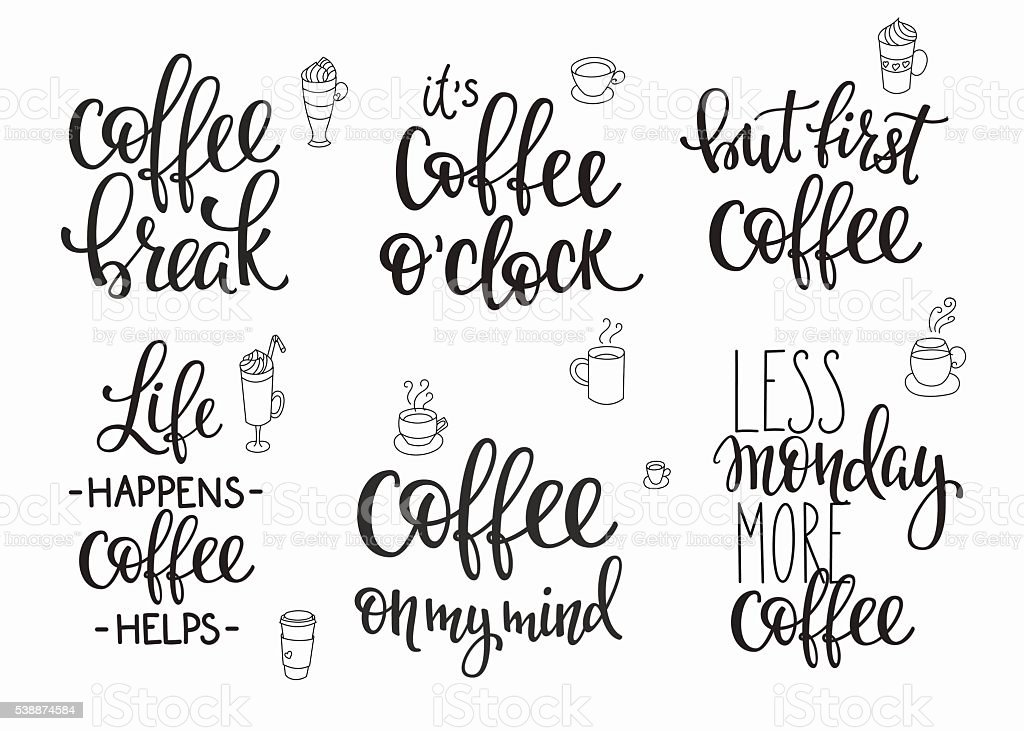 Quote coffee cup typography set vector art illustration