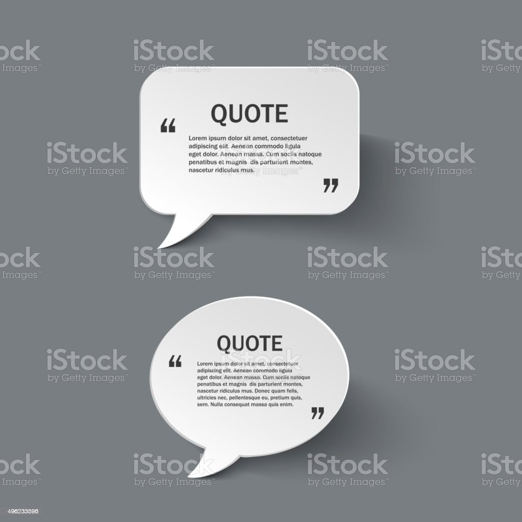 Quote form on paper speech bubbles vector art illustration
