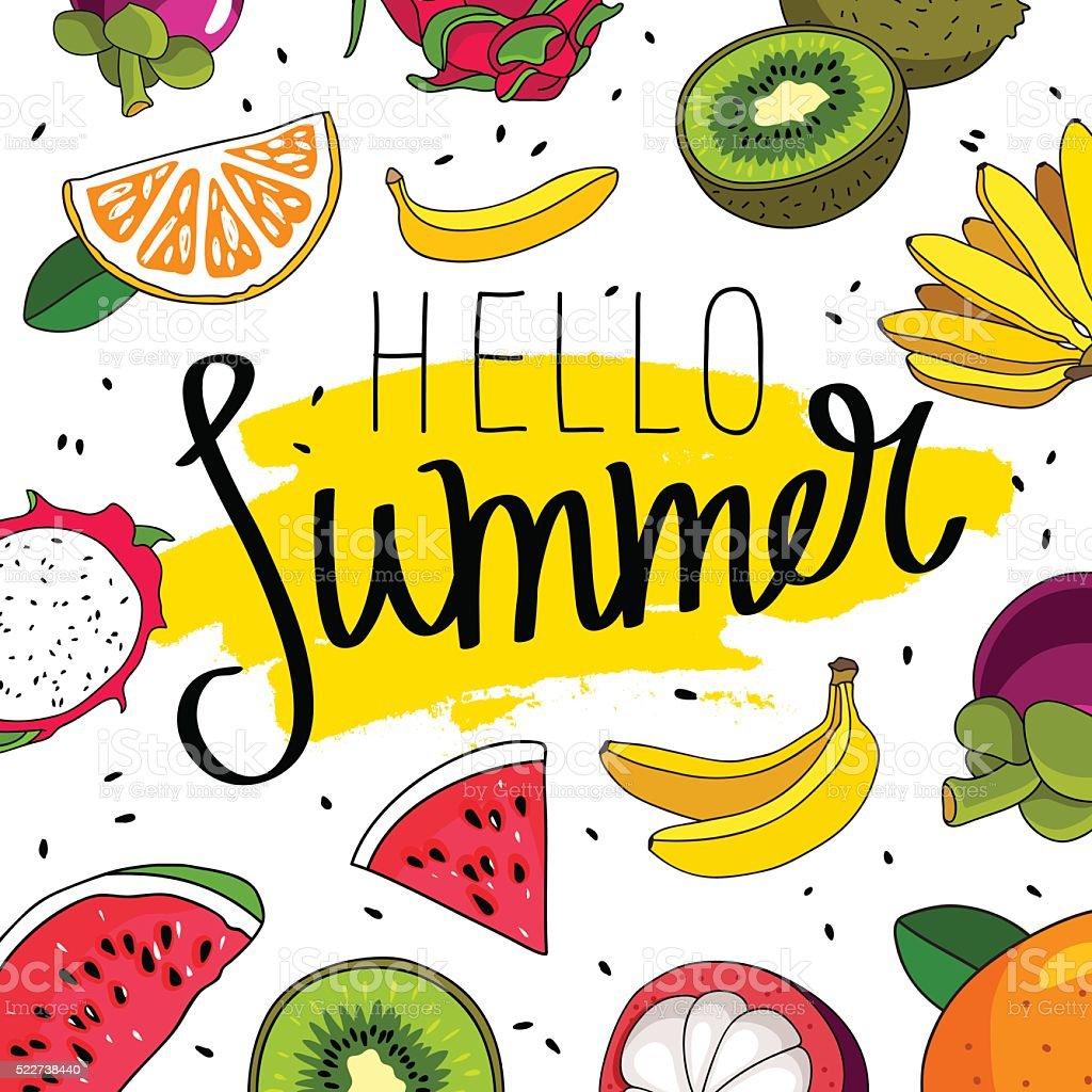 Quote Hello Summer. Fashionable calligraphy vector art illustration