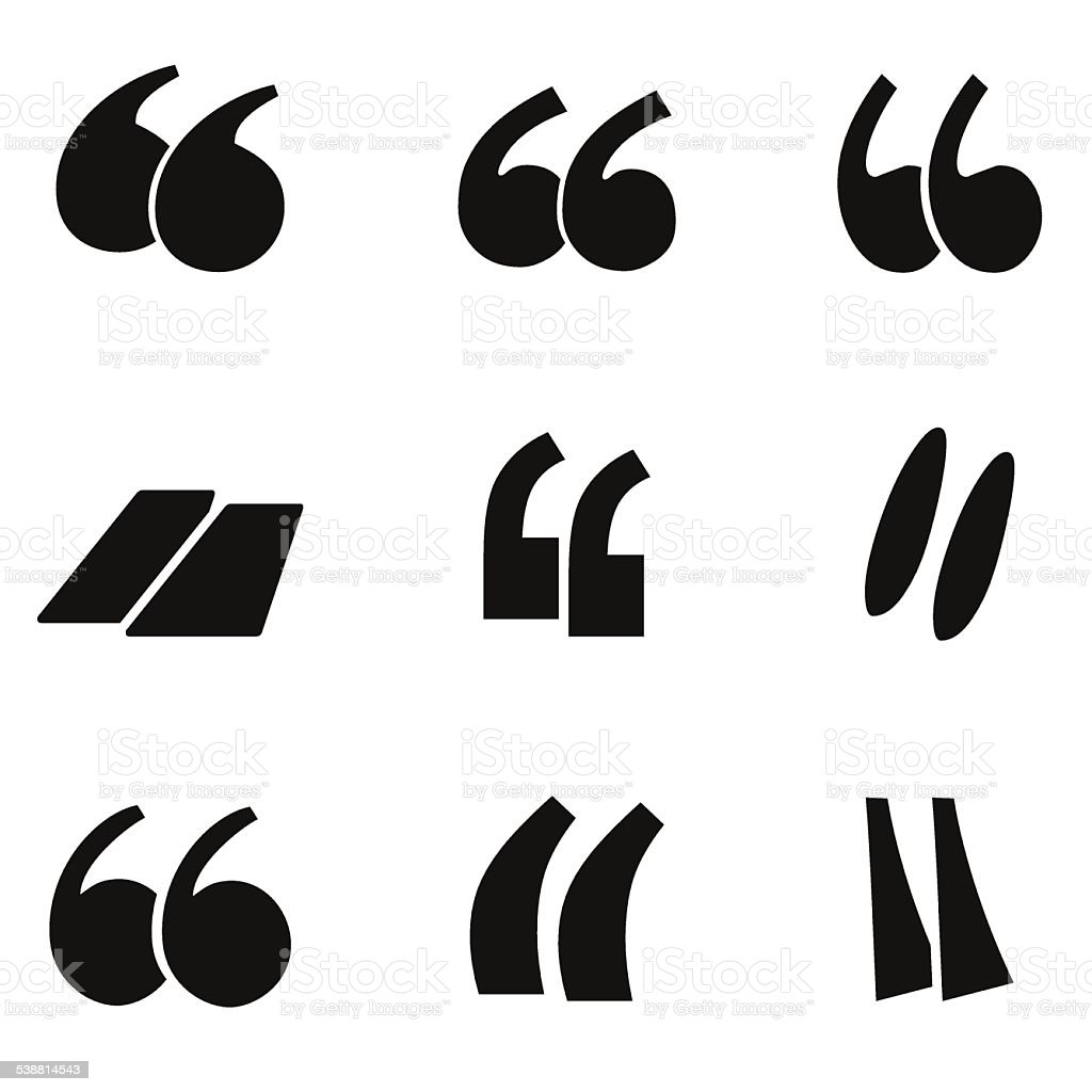 Quote icon set isolated on white background. vector art illustration