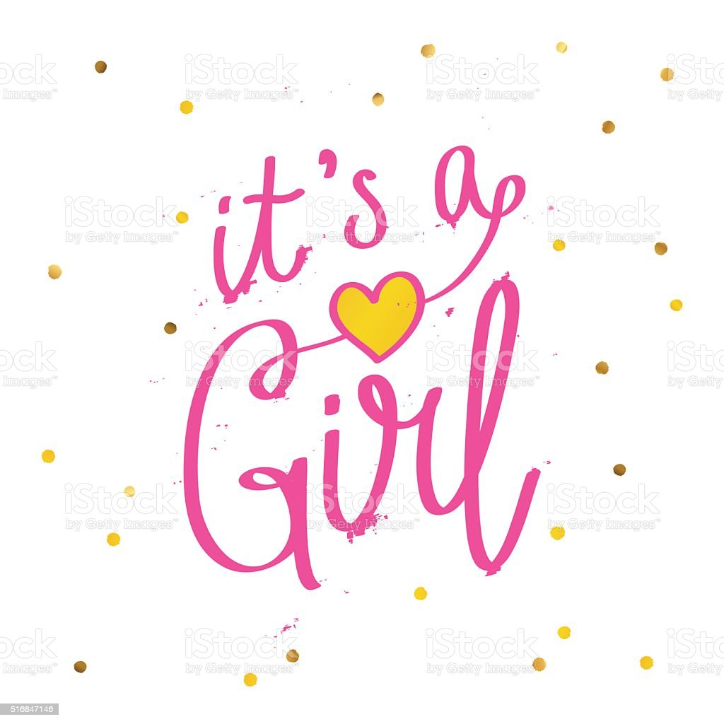 Quote 'It's a girl.' Calligraphy vector art illustration