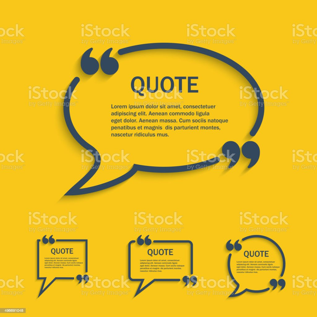 Quote line speech bubble set vector art illustration
