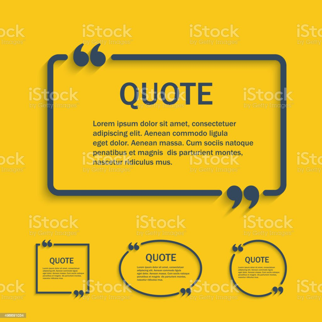 Quote line text box with commas set vector art illustration
