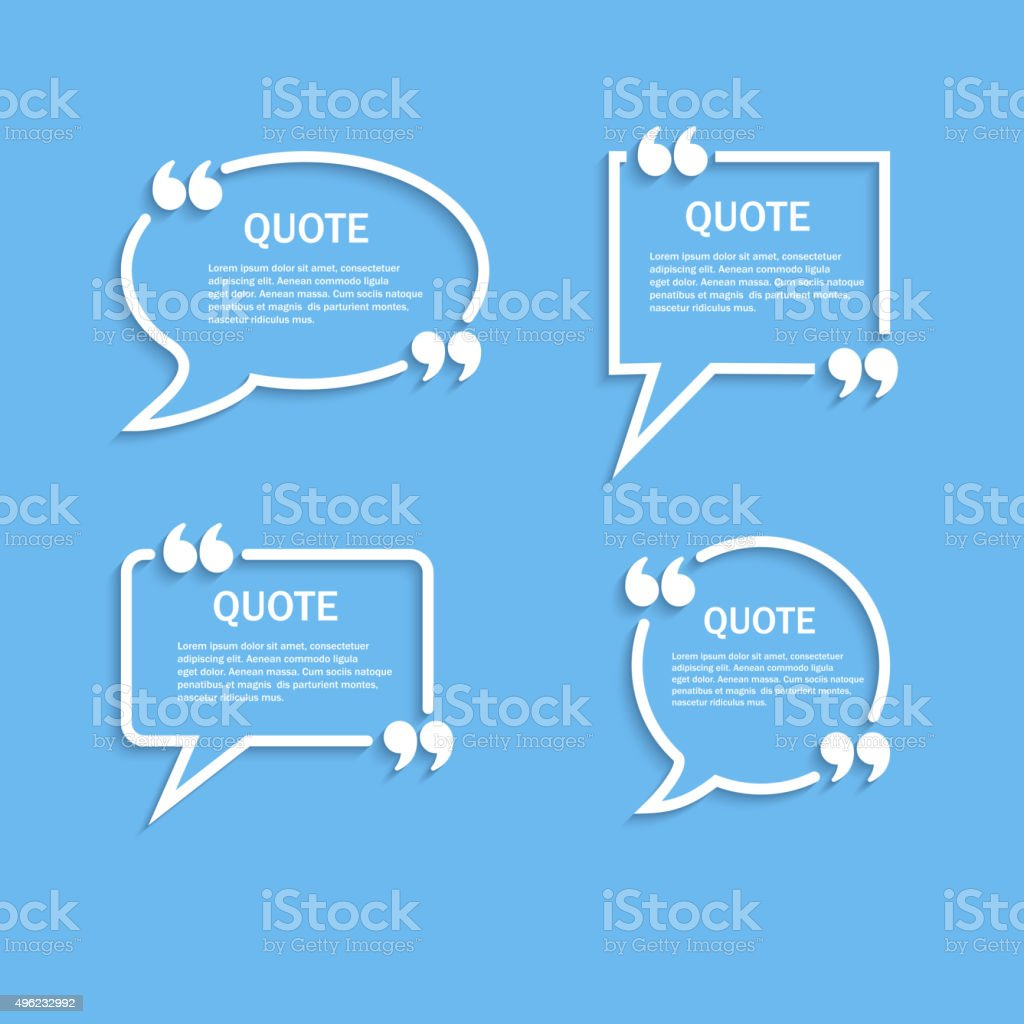 Quote outline speech bubble set vector art illustration