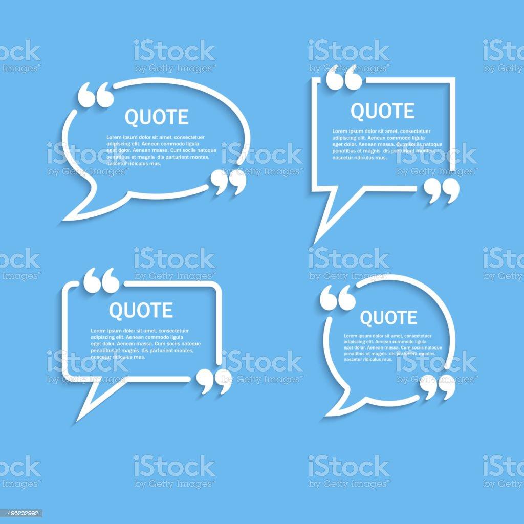 Quote outline speech bubble set vector art illustration