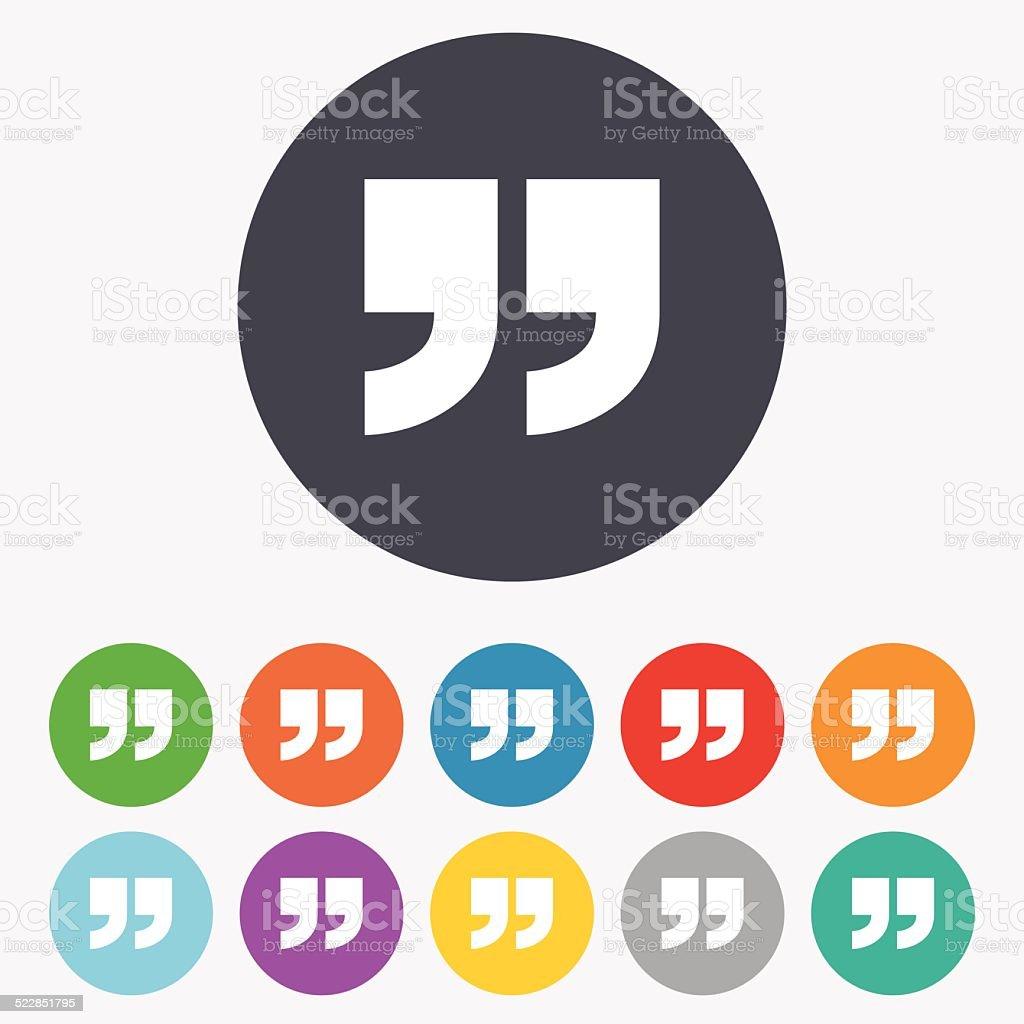 Quote sign icon. Quotation mark symbol. vector art illustration