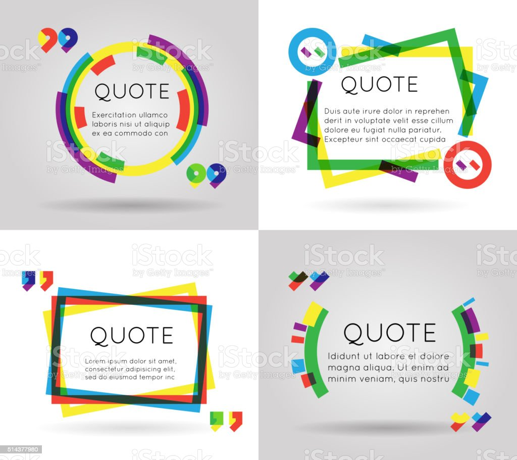 Quote template colorful information text blog business mobile isolated on vector art illustration