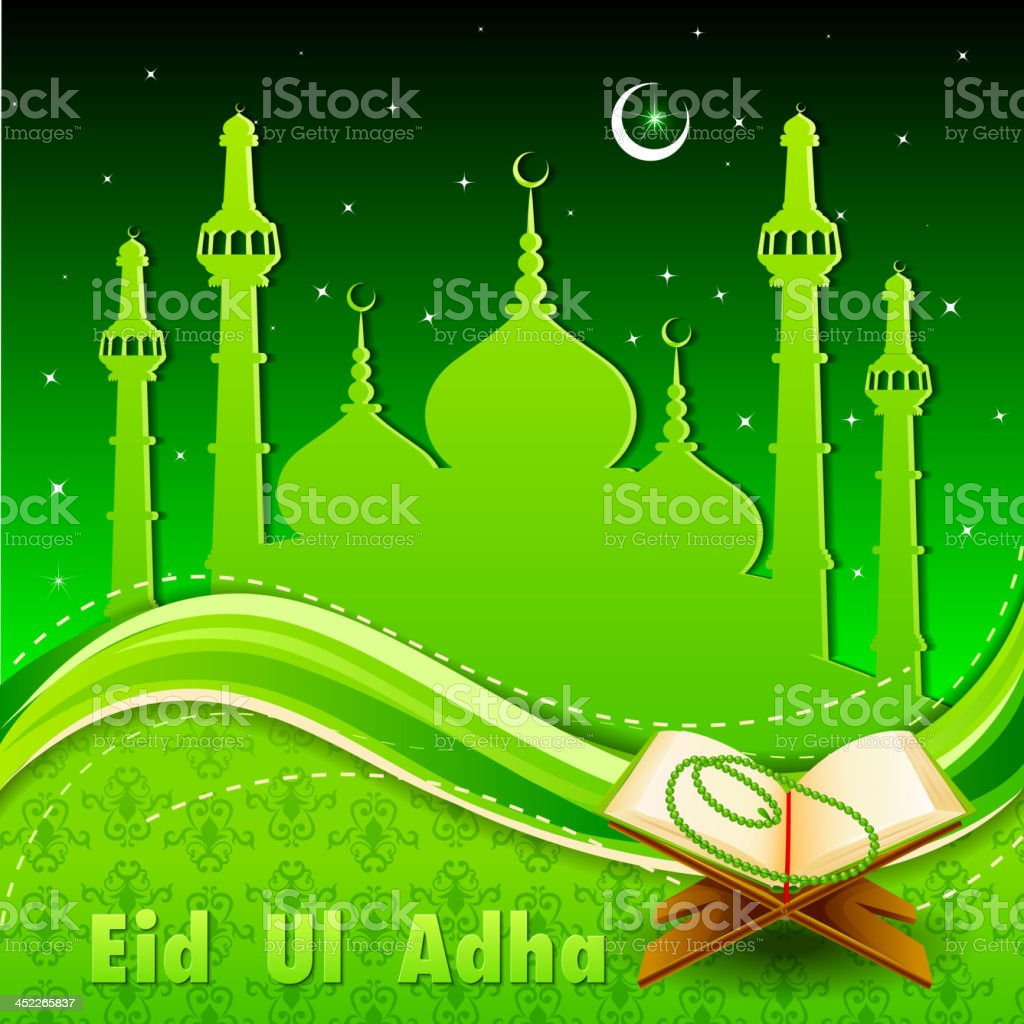 Quran on Eid Mubarak background royalty-free stock vector art