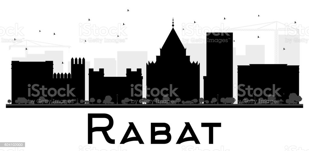 Rabat City skyline black and white silhouette. vector art illustration