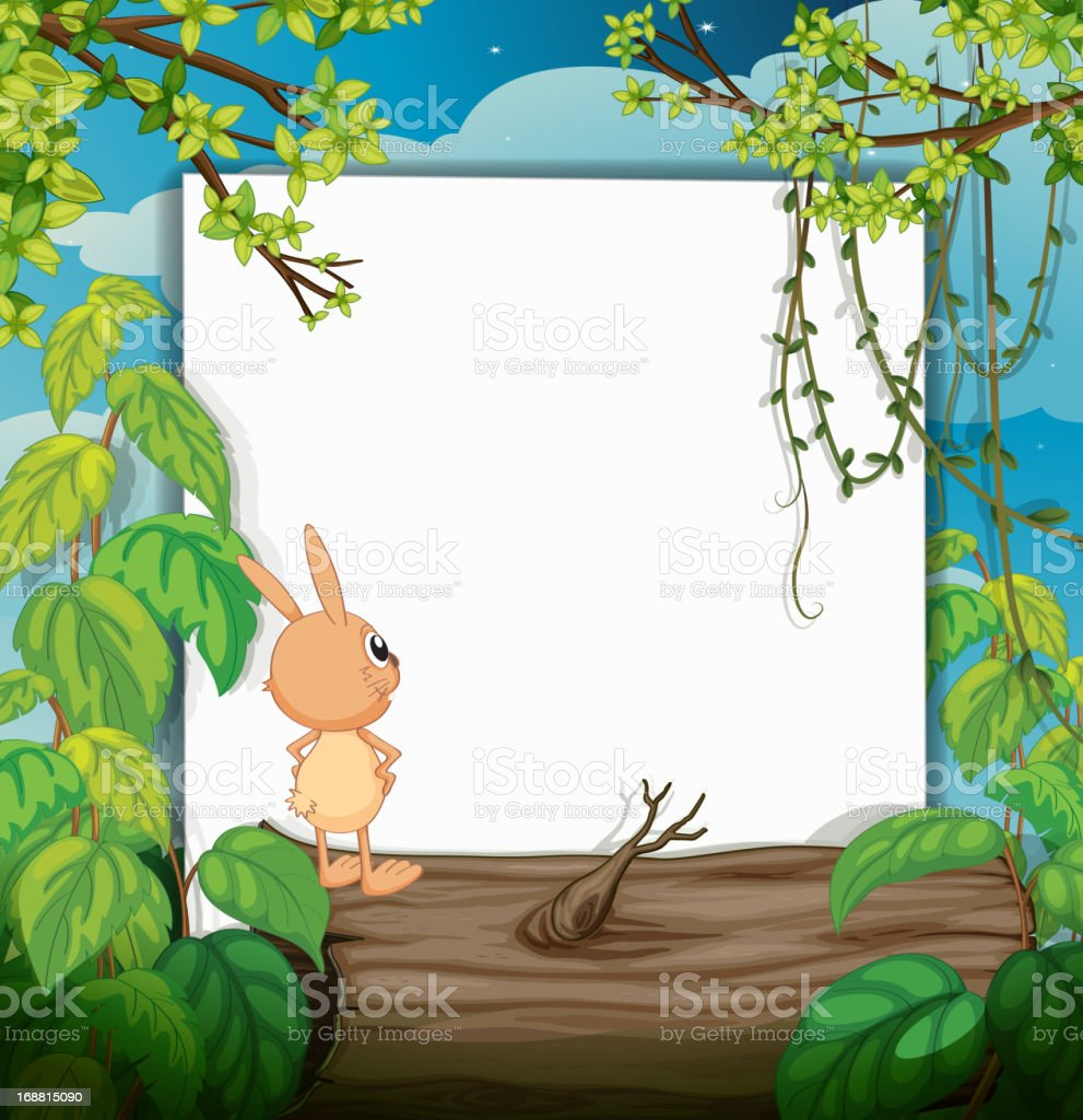 Rabbit and a white board royalty-free stock vector art