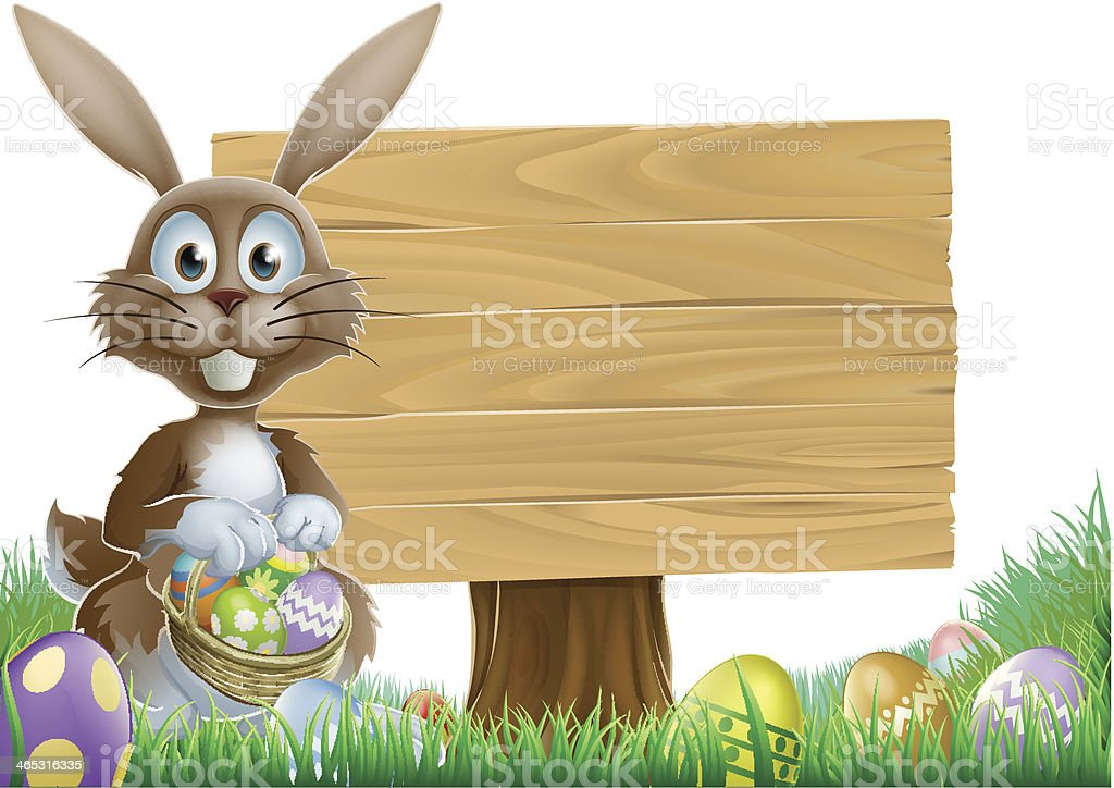 Rabbit and Easter sign vector art illustration