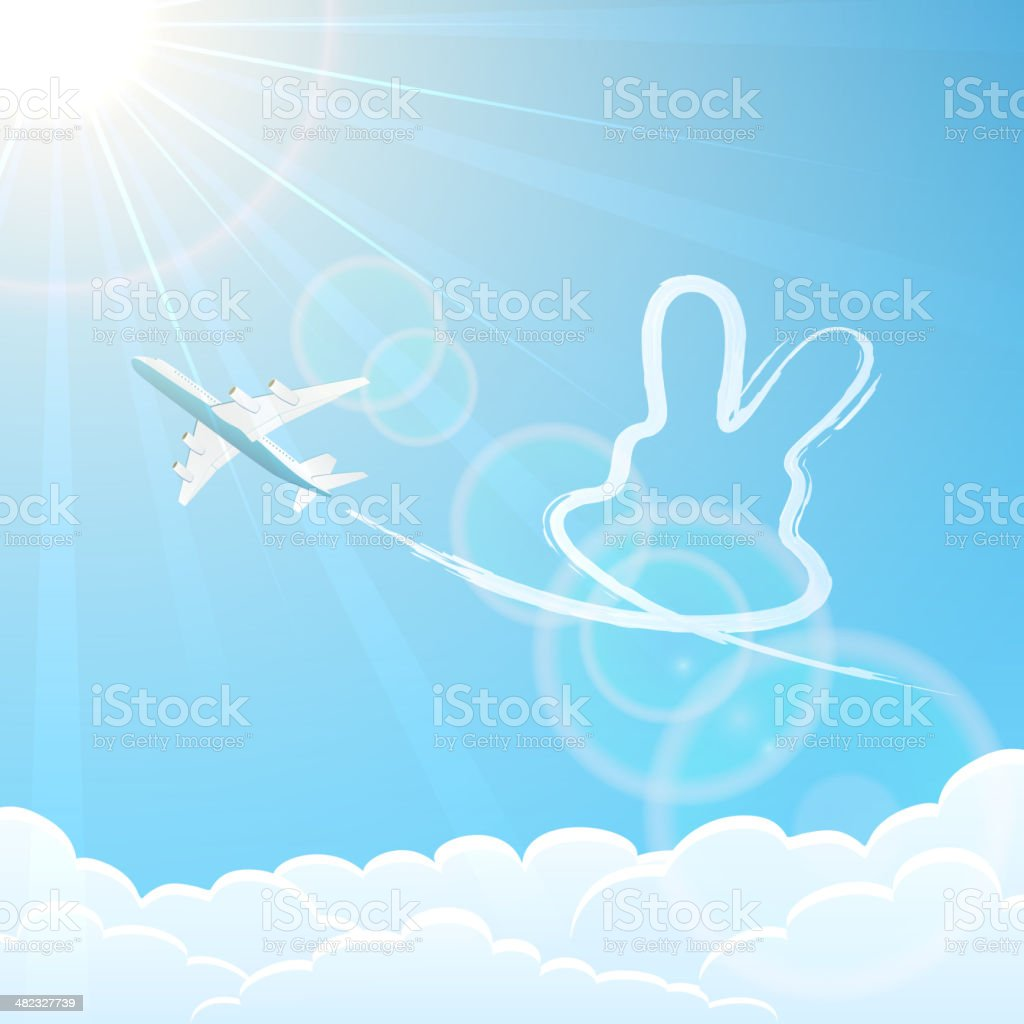 Rabbit and plane in the sky royalty-free stock vector art