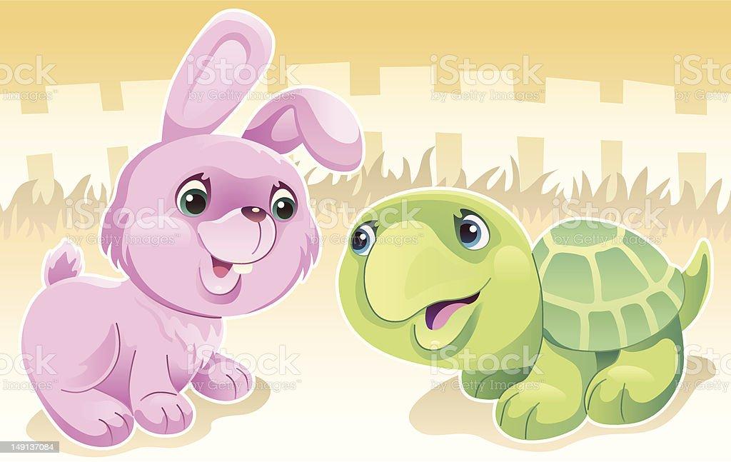 rabbit and tortoise vector art illustration