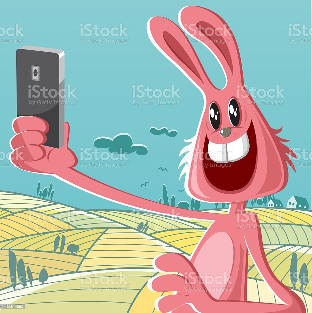 rabbit at the nature vector art illustration