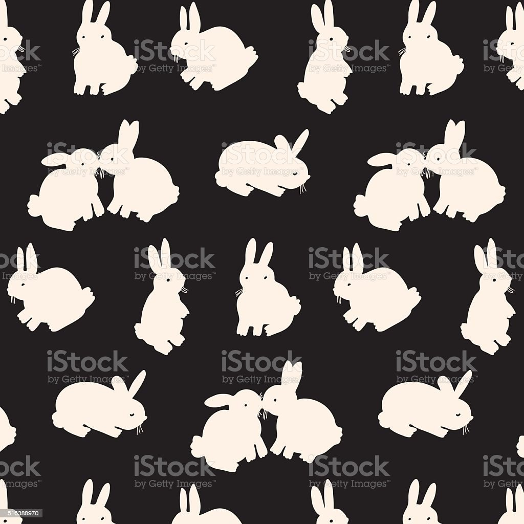 rabbit bunny silhouette color pattern background vector art illustration