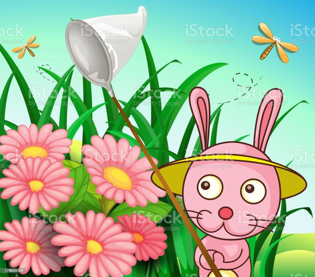 Rabbit catching dragonflies royalty-free stock vector art