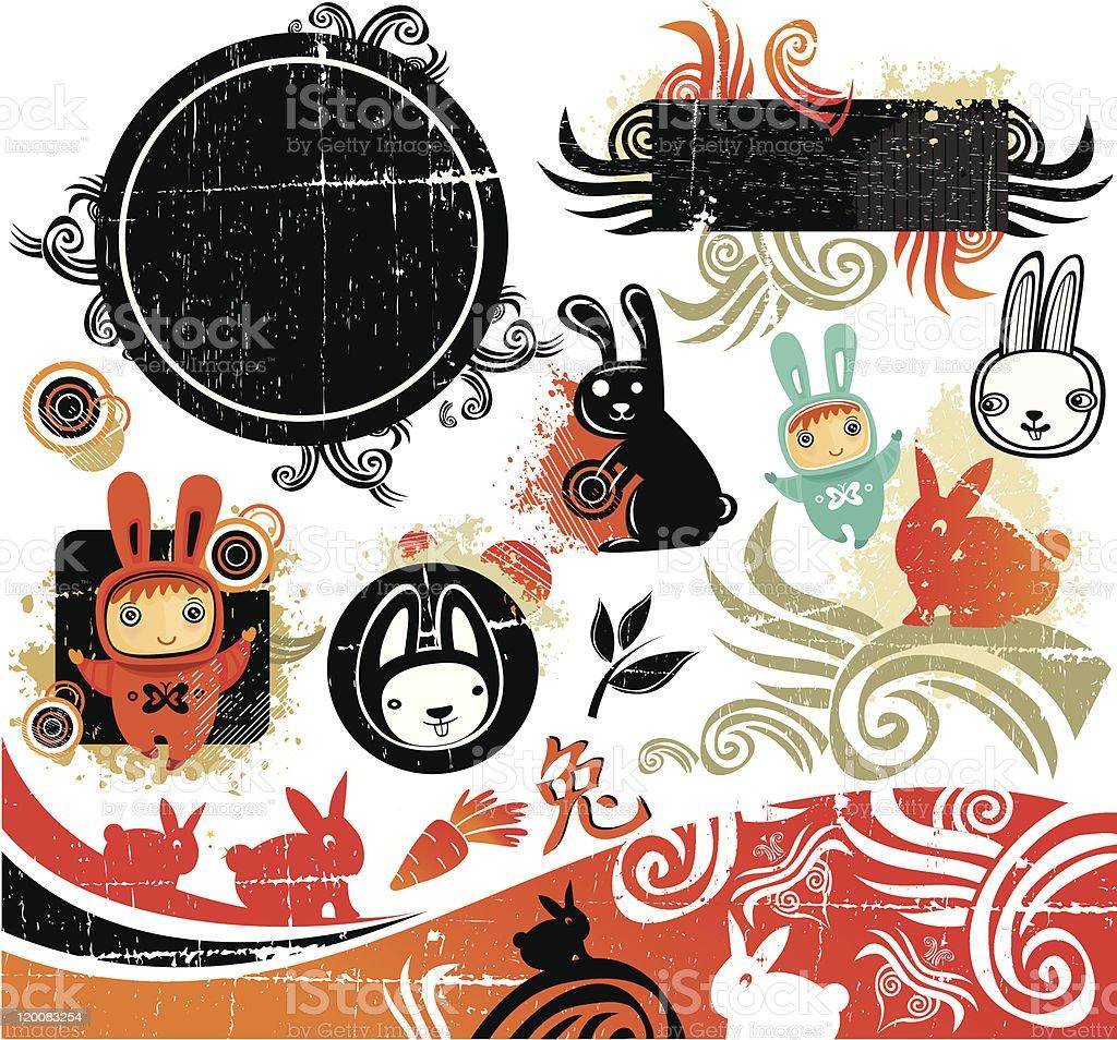 Rabbit design elements royalty-free stock vector art