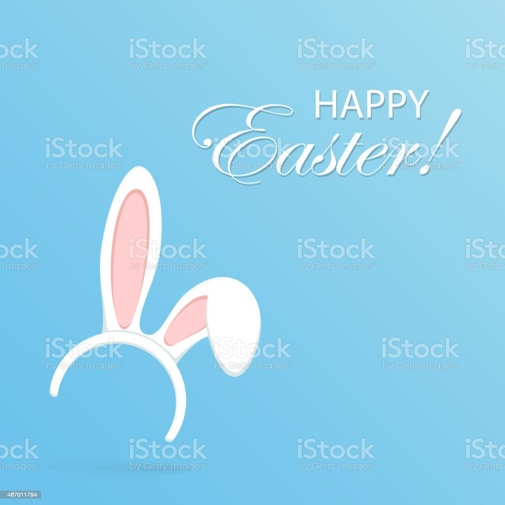 Rabbit ears on blue background vector art illustration