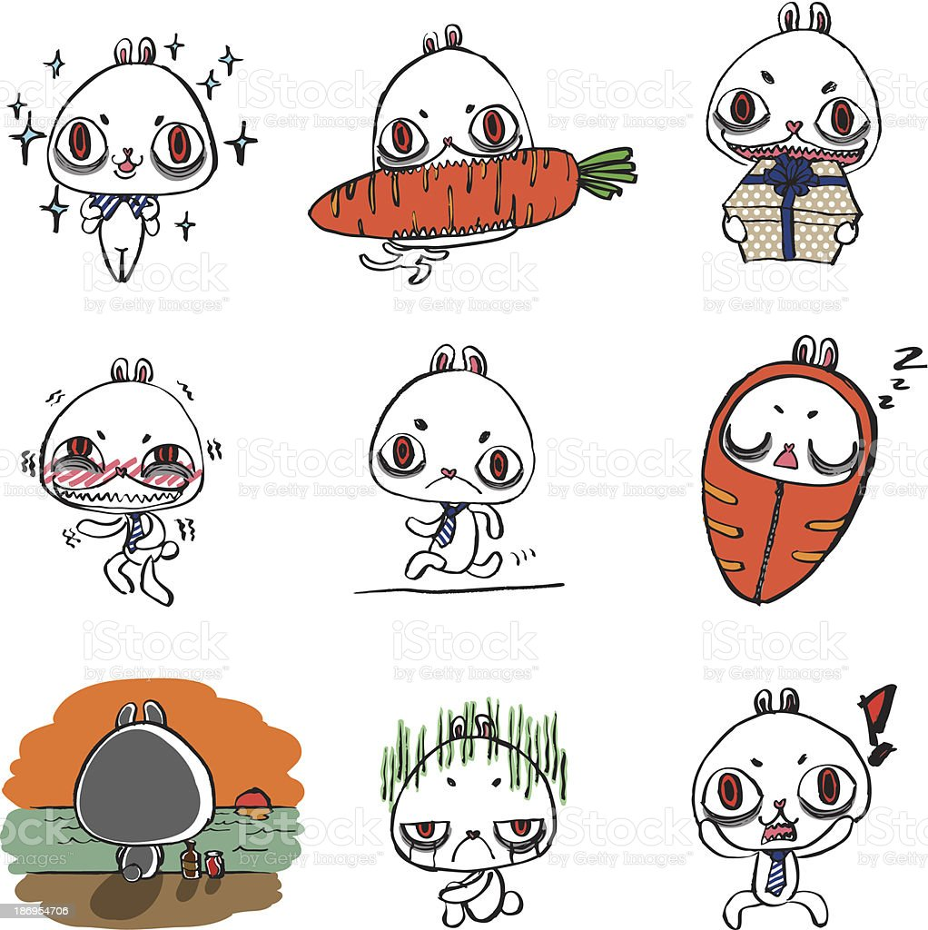 rabbit emotion character. vector art illustration