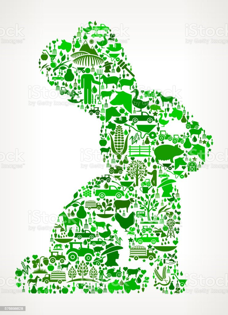 Rabbit Farming and Agriculture Green Icon Pattern vector art illustration