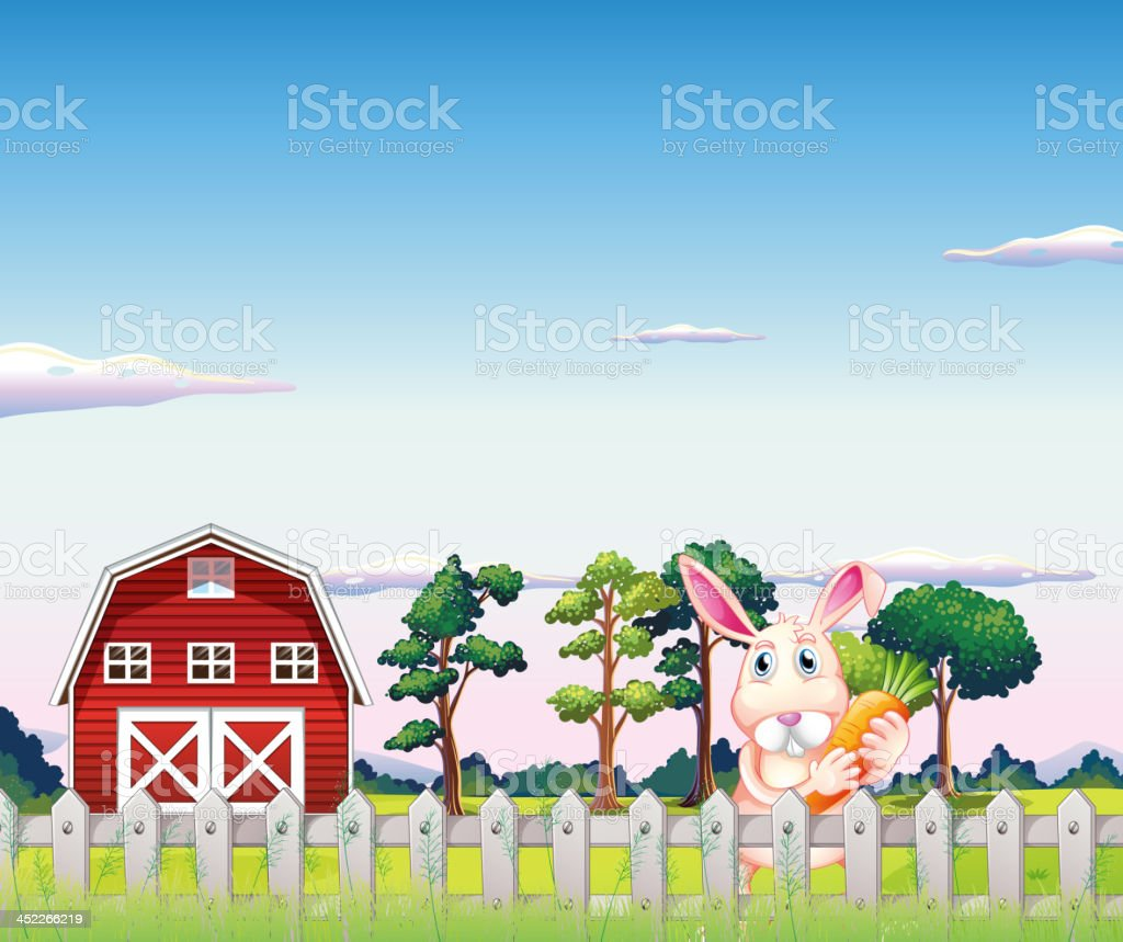 rabbit holding a carrot inside fence at the farm royalty-free stock vector art