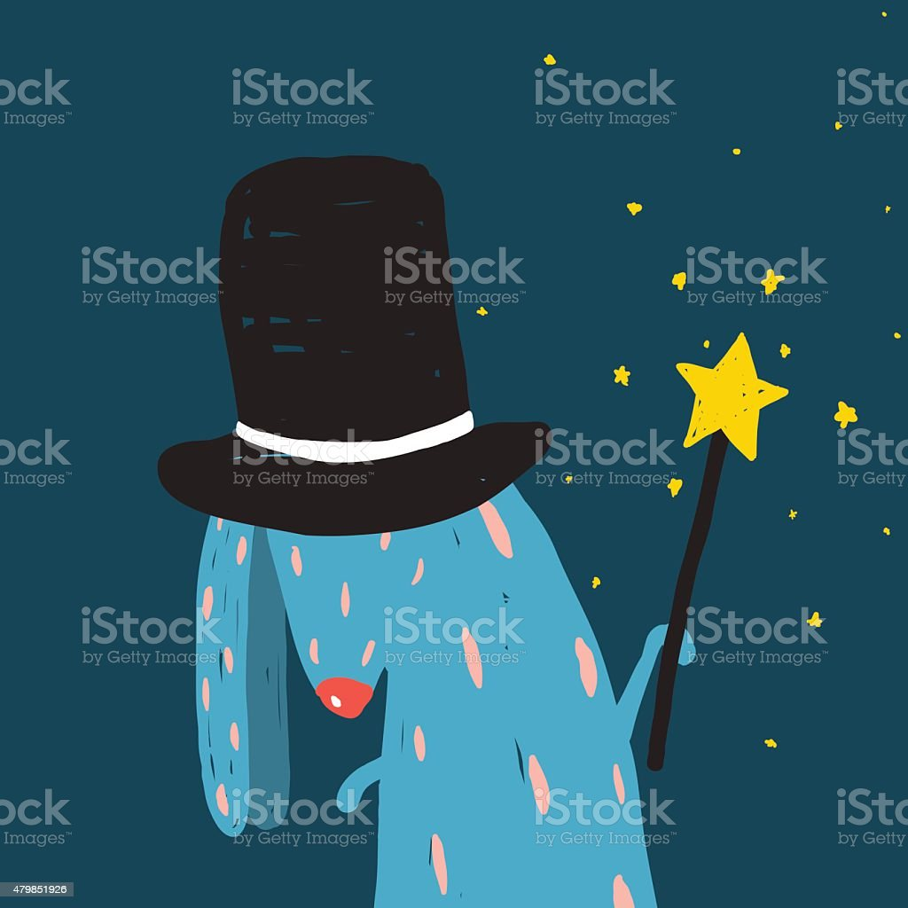 Rabbit in Black Hat Doing Tricks with Magic Wand vector art illustration