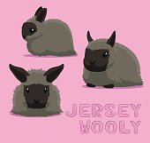 Rabbit Jersey Wooly Cartoon Vector Illustration