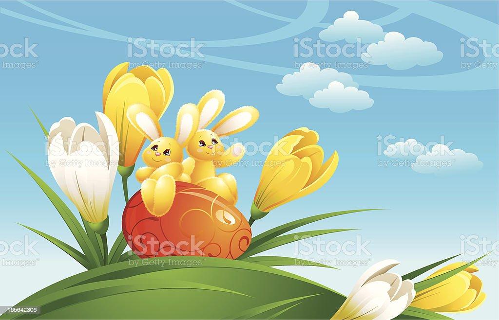 Rabbit on an easter egg vector art illustration