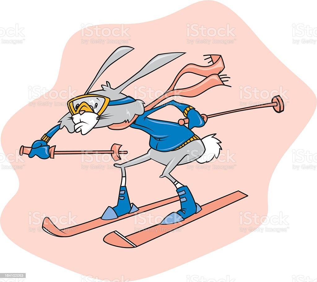 Rabbit on Skis royalty-free stock vector art