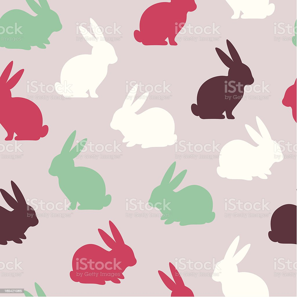 A rabbit pattern in pink, brown, and green vector art illustration