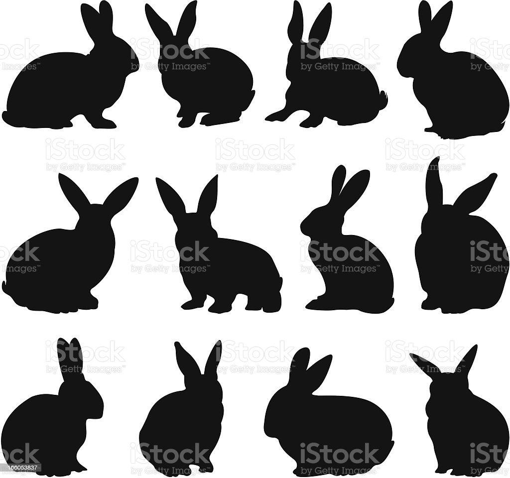 Rabbit silhouettes vector art illustration
