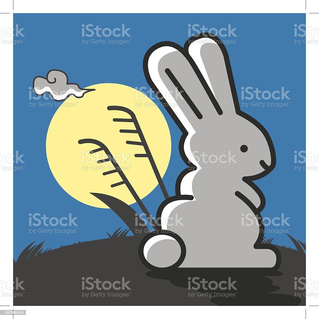 Rabbit under the moonlight. royalty-free stock vector art