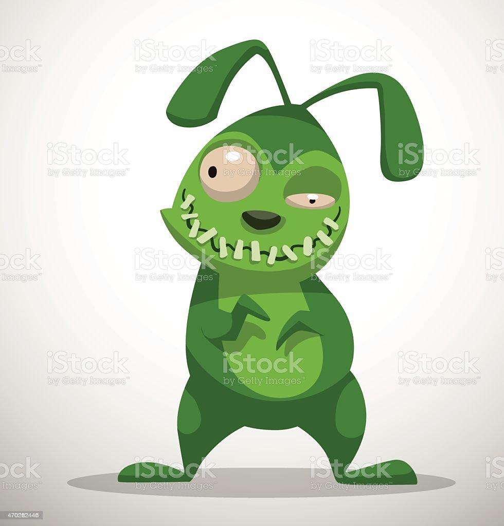Rabbit Zombie vector art illustration
