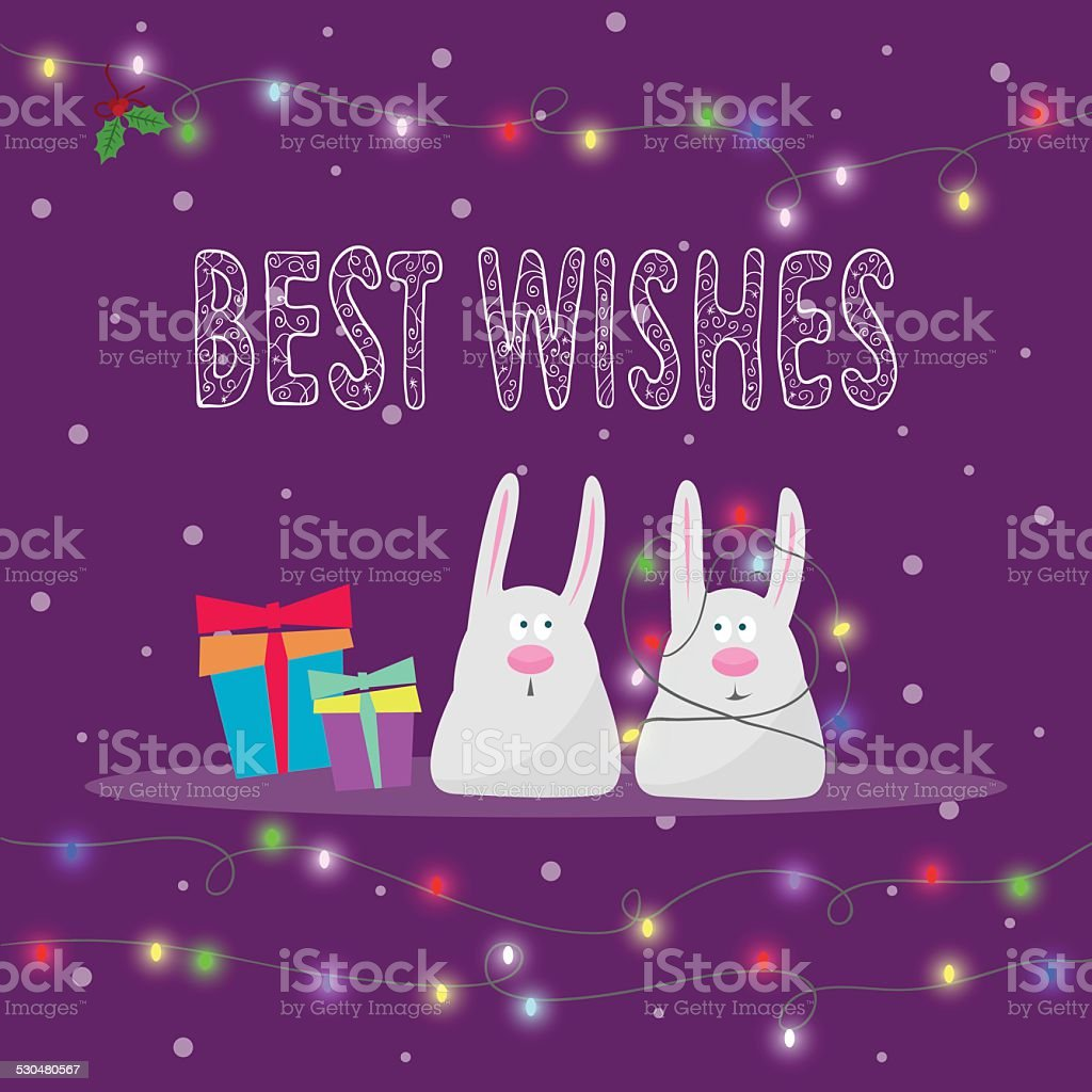 rabbits, hand-drawing best wishes and lights for winter holidays card vector art illustration