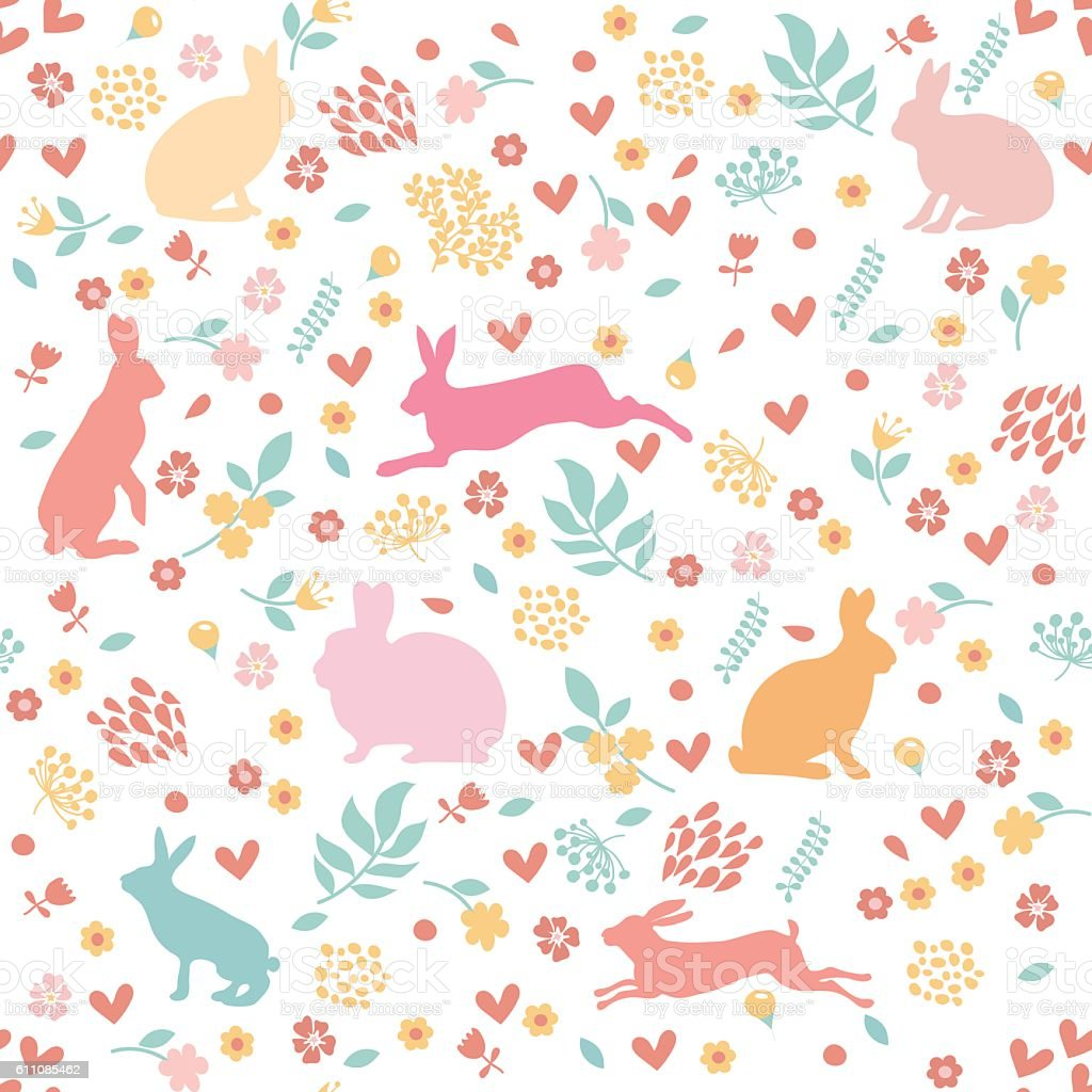 Rabbits in hearts and flowers. vector art illustration