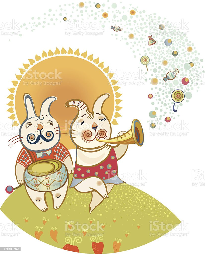 Rabbits Play Musical Instruments royalty-free stock vector art