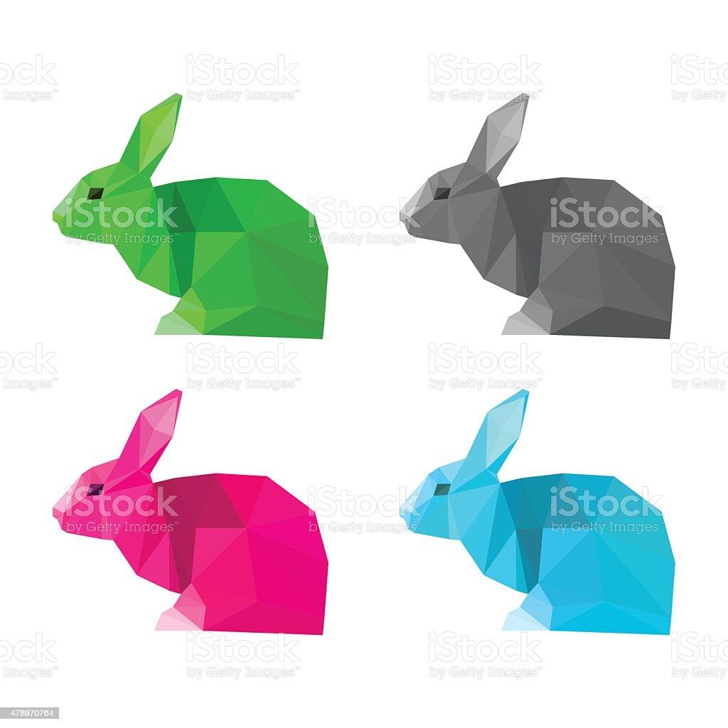 Rabbits set isolated on white. Abstract bright  polygonal geometric illustration vector art illustration