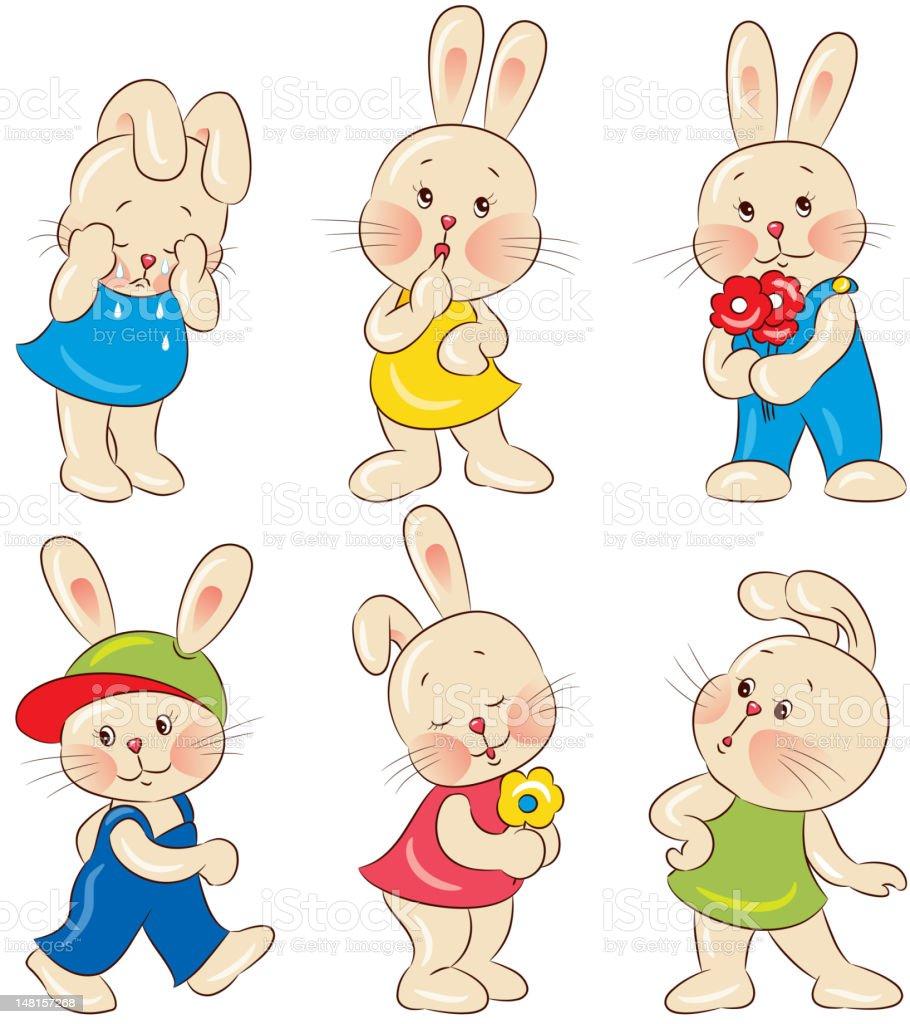 Rabbits vector art illustration