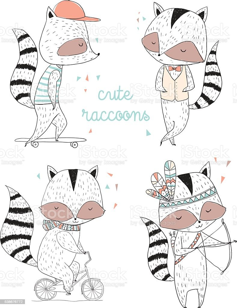 Raccoon characters, cute, illustrations and greeting cards royalty-free stock vector art