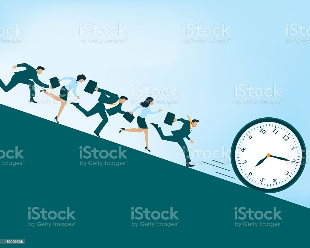 Race against time vector art illustration