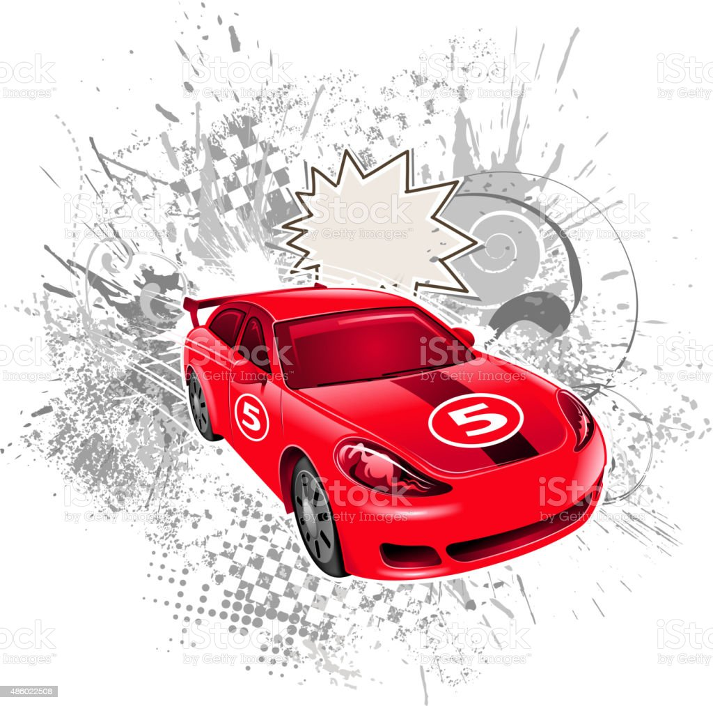 race car action vector art illustration