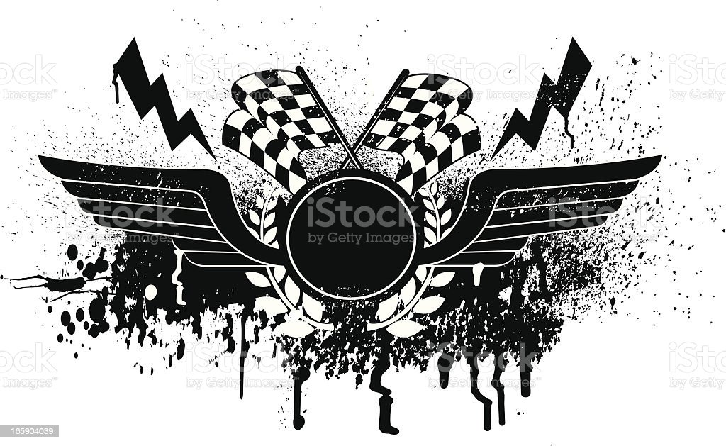 Race Car Graphic with Checkered Flags, wings vector art illustration
