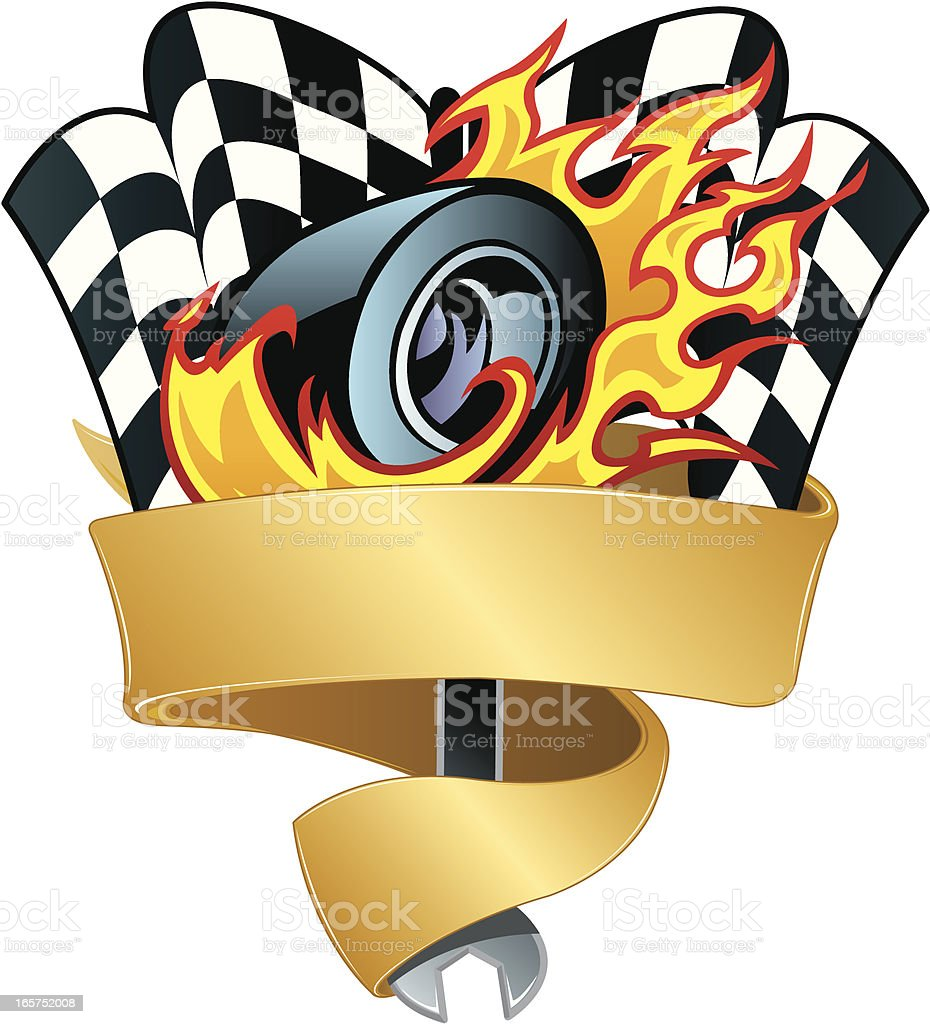 Race Car Graphic with Flaming Tire, Checkered Flag Background vector art illustration