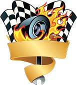Race Car Graphic with Flaming Tire, Checkered Flag Background