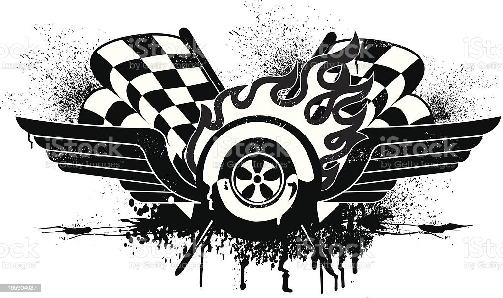 Race Car Grunge Graphic with Checkered Flags vector art illustration