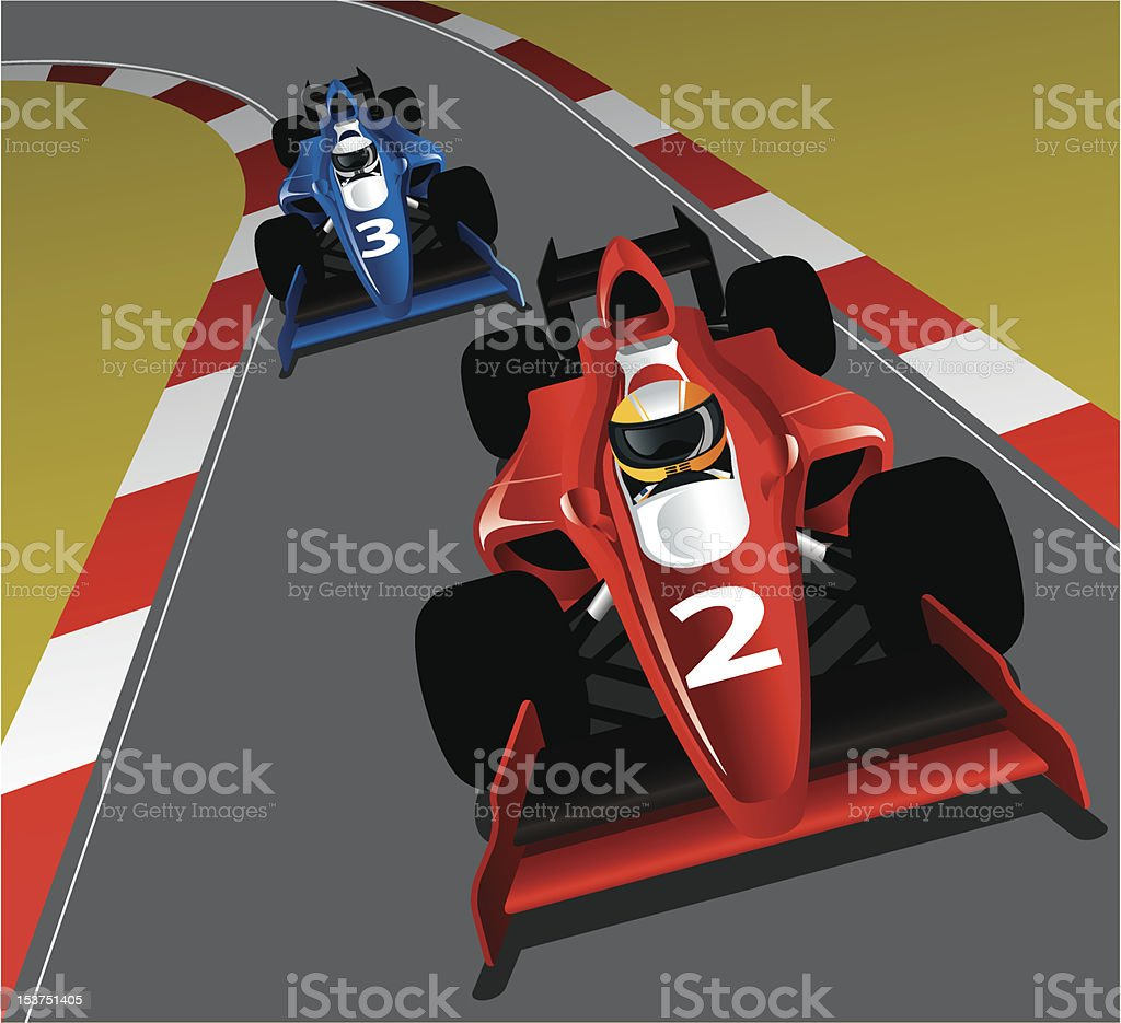 Race Car on the track vector art illustration