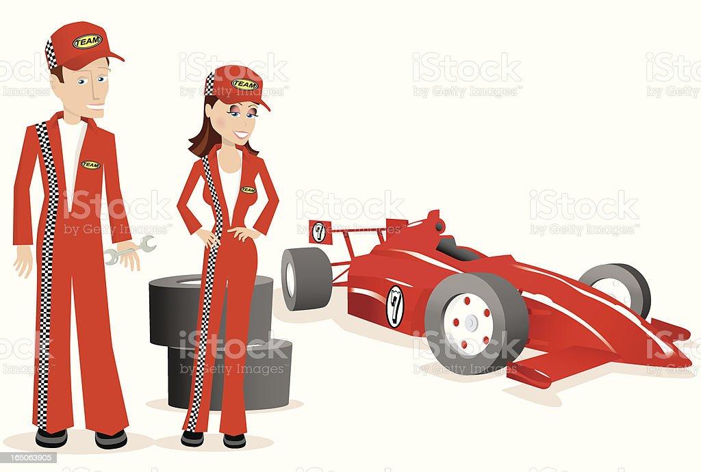 Race car team mechanics and indy car vector art illustration